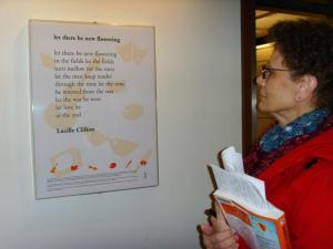 Visitor reading poem